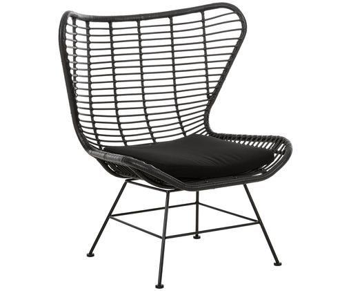 Garten-Loungesessel Costa mit Kunststoff-Geflecht, Sitzfläche: Polyethylen-Geflecht, Gestell: Metall, pulverbeschichtet, Schwarz, B 90 x T 89 cm