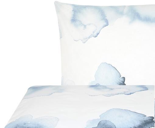 Dwustronna pościel z bawełny renforcé Thea, Biały, niebieski