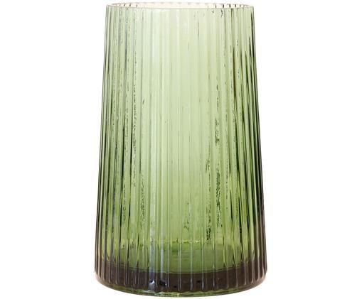 Vaas Ribbed, Glas, Grasgroen, Ø 13 x H 20 cm