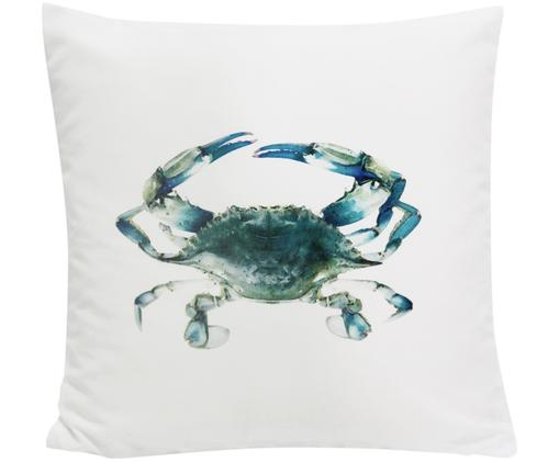 Kissenhülle Cea mit Krabbe in Aquarelloptik, Polyester, Weiß, Blautöne, 45 x 45 cm