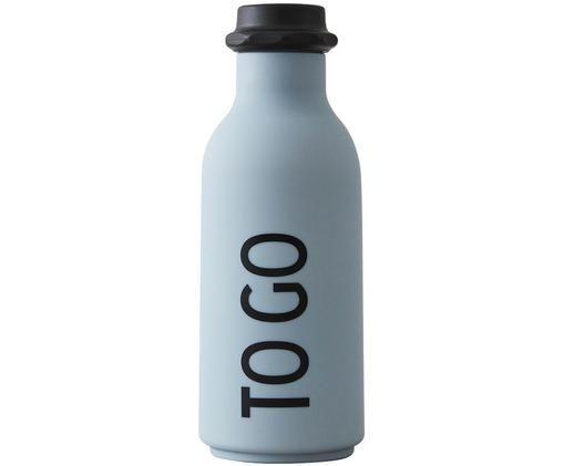 Isolierflasche To Go, Flasche: Tritan (Kunststoff), BPA-, Deckel: Polypropylen, Hellblau matt, Schwarz, Ø 8 x H 20 cm