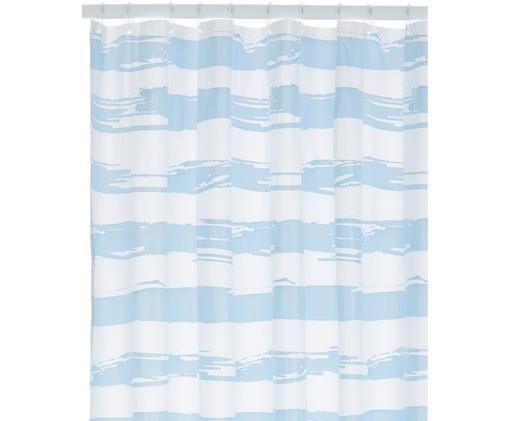 Duschvorhang Stripy mit Streifendesign, Öko-Kunststoff (PEVA), frei von PVC Wasserdicht, Weiß, Hellblau, 180 x 200 cm