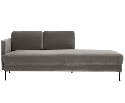 Chaise-longue in velluto Fluente, Grigio marrone