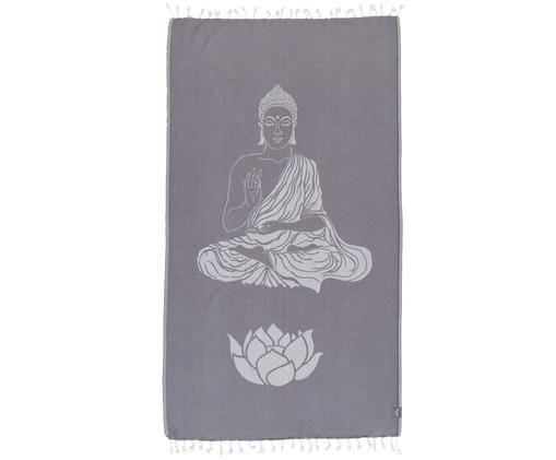 Hamamdoek Buddha, Grijs, gebroken wit