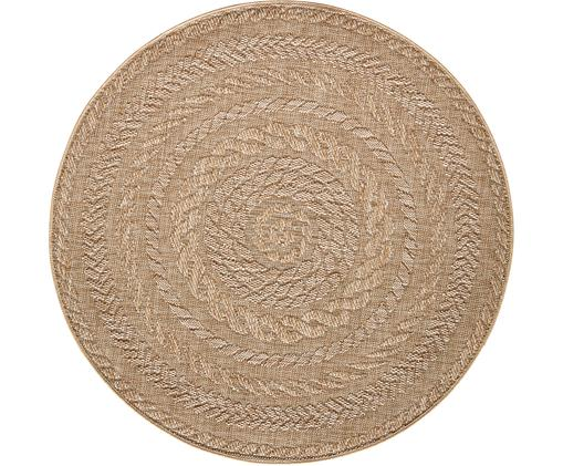 Rond in- en outdoor vloerkleed Almendro in jute look