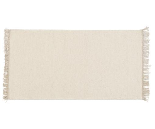 Tappeto in lana tessuto a mano Rainbow, Tappeto: bianco latteo Frange: beige