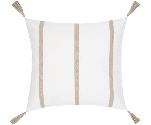 Federa arredo  Joe, Cotone, Bianco crema, taupe, Larg. 50 x Lung. 50 cm