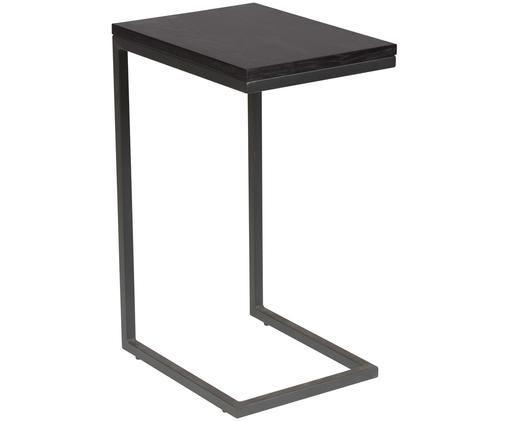 Tavolino Pia, Piano d'appoggio: legno di quercia, laccato, Struttura: metallo, verniciato a pol, Nero, Larg. 40 x Prof. 30 cm