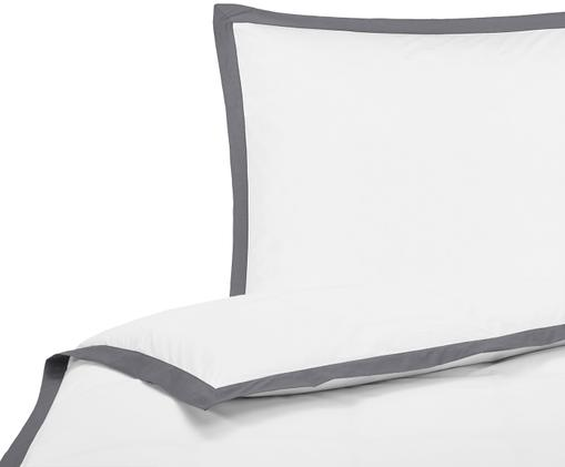 Perkal-Bettwäsche Joanna mit farblich abgesetztem Stehsaum, Webart: Perkal Fadendichte 200 TC, Weiß, Grau, 135 x 200 cm