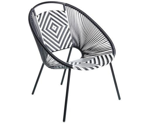 Outdoor-Sessel Wicker, Schwarz, Weiß