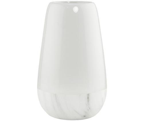 Vase Marbbello aus marmoriertem Dolomitstein, Dolomitstein, Weiß, Ø 14 x H 22 cm