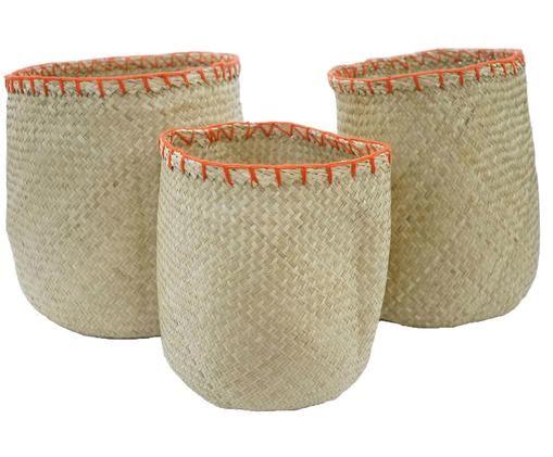 Aufbewahrungskörbe Marias, 3 Stück, Seegras, Beige, Orange, Ø 40 x H 40 cm