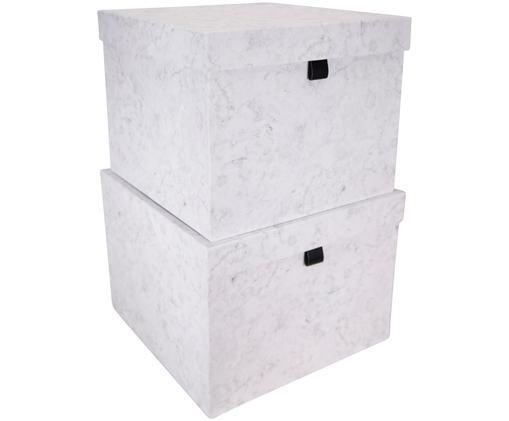 Set scatole custodia Tristan, 2 pz., Bianco, marmorizzato