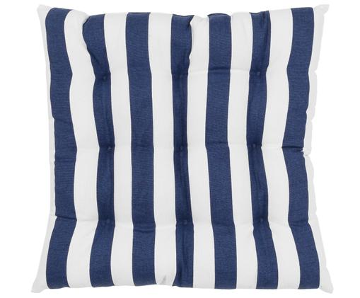 Cojín de asiento Parasol, Funda: 100%algodón, Azul oscuro, blanco, An 40 x L 40 cm