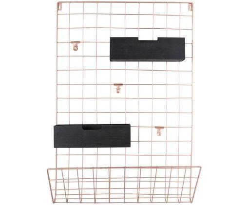 Wandaufbewahrungs-Set Memo, 6-tlg. aus Metall, Kupferfarben, Schwarz, 45 x 66 cm