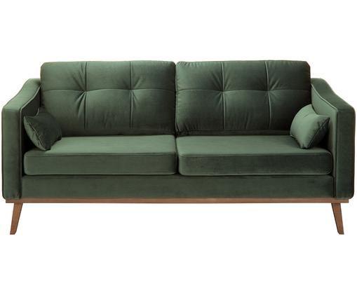 Samt-Sofa Alva (2-Sitzer), Bezug: Samt (Hochwertiger Polyes, Gestell: Massives Kiefernholz, Füße: Massives Buchenholz, gebe, Samt Olive, B 184x T 92 cm