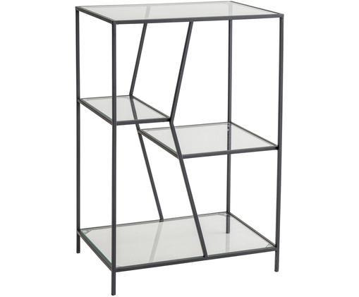 Consolle Structure, Metallo rivestito, vetro, Nero, trasparente, Larg. 50 x Alt. 74 cm