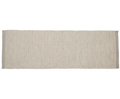 Handgewebter Wollläufer Delight, Flor: 90% Wolle, 10% Baumwolle, Hellgrau, 80 x 250 cm