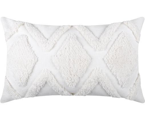 Cuscino con imbottitura e motivo a rilievo Sicilia, Cotone, Bianco, Larg. 30 x Lung. 50 cm