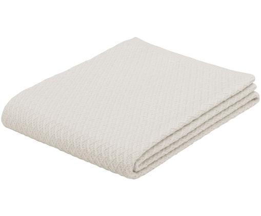 Plaid in cashmere Serlina con motivo a maglia, Bianco crema