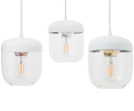 Lampada a sospensione Cannonball Acorn, Baldacchino: silicone, Bianco, argento, Configurabile individualmente fino a 2,5 metri di altezza di sospensione
