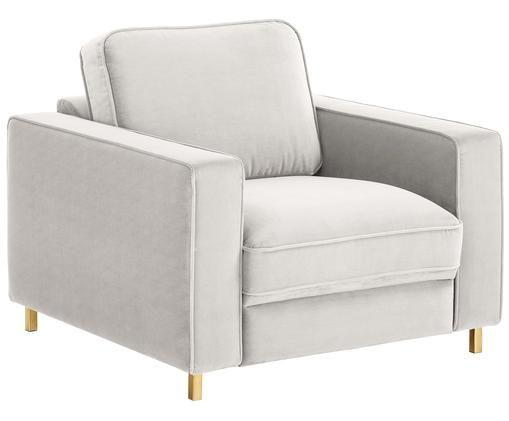 Samt-Sessel Chelsea, Bezug: Samt (Hochwertiger Polyes, Gestell: Massives Fichtenholz, Füße: Metall, beschichtet, Hellgrau-Beige, 83 x 74 cm
