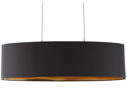 Hanglamp Jamie, Baldakijn: vernikkeld metaal, Fitting: vernikkeld metaal, Zilverkleurig, zwart, 78 x 22 cm