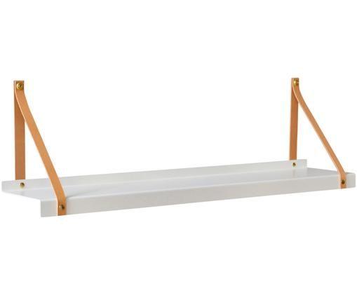 Wandregal Shelfie, Regalbrett: Metall, pulverbeschichtet, Riemen: Leder, Weiß, Braun, B 75 x T 15 cm