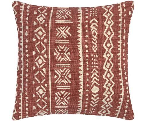 Poszewka na poduszkę Masai, Bawełna, Złamana biel, brązowy, S 45 x D 45 cm