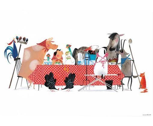 Poster Bon Appetit, Papier, Mehrfarbig, 59 x 42 cm