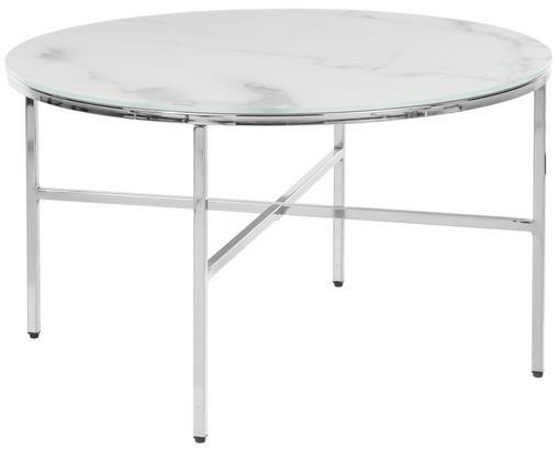 Tavolino da salotto con piano in vetro Antigua, Piano d'appoggio: vetro smerigliato con lam, Struttura: metallo zincato, Bianco-grigio marmorizzato, argentato, Ø 78 x Alt. 45 cm