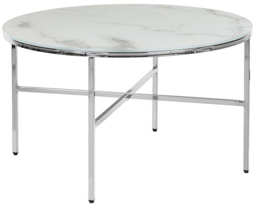 Salontafel Antigua met glazen tafelblad met marmerlook, Tafelblad: mat glas met onderliggend, Frame: gegalvaniseerd metaal, Wit-grijs gemarmerd, zilverkleurig, Ø 78 x H 44 cm