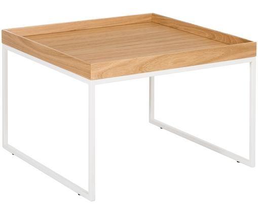 Tavolo-vassoio Pizzo, Bianco, legno di quercia