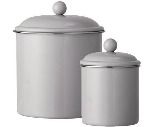 Komplet pojemników do przechowywania Clone, 2 elem., Metal lakierowany, Jasny brązowy, Różne rozmiary