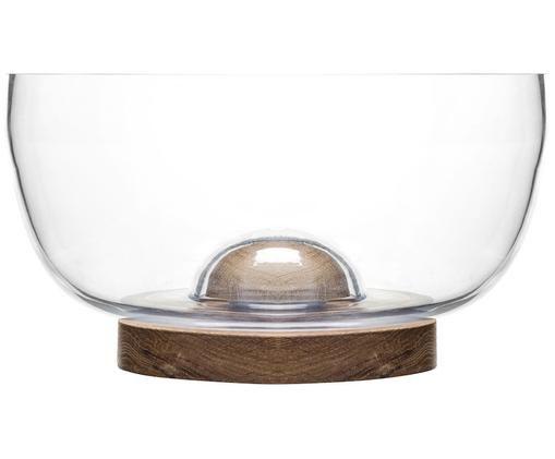 Misa do sałatek ze szkła i drewna dębowego Eden, Drewno dębowe, szkło, Transparentny, drewno dębowe, Ø 18 x W 10 cm