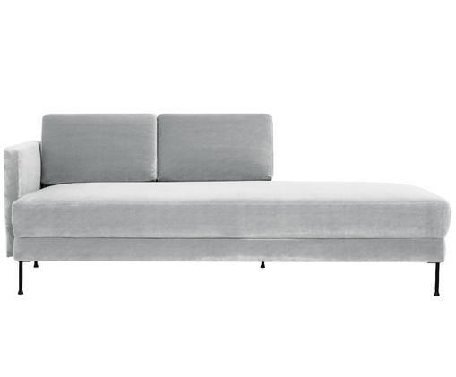 Fluwelen chaise longue Fluente, Bekleding: fluweel (hoogwaardig poly, Frame: massief grenenhout, Poten: gelakt metaal, Lichtgrijs, B 201 x D 83 cm