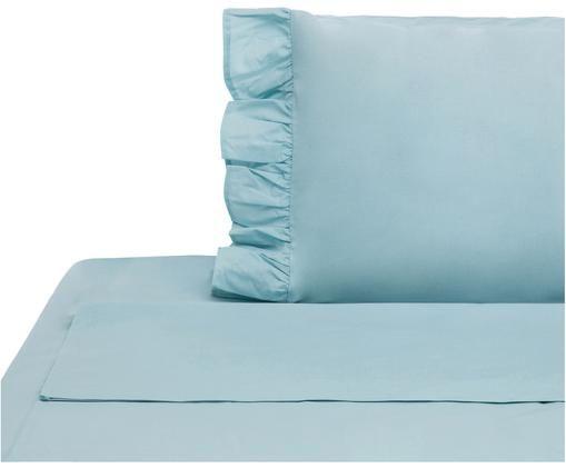 Completo letto renforcé Ruffle, Tessuto: Renforcé, Turchese pastello, 150 x 290 cm