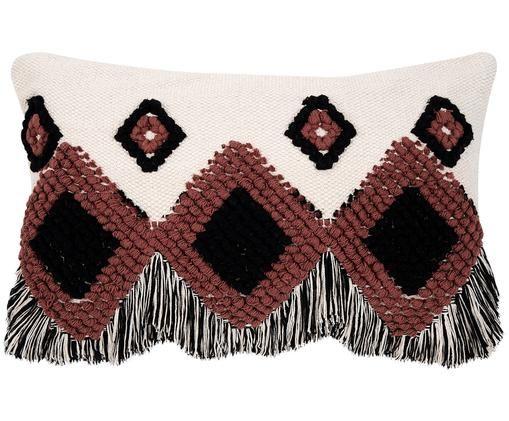 Housse de coussin style ethnique à franges Tanea, Écru, noir, rouille