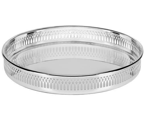 Rundes Spiegeltablett Delphi, versilbert, Silber