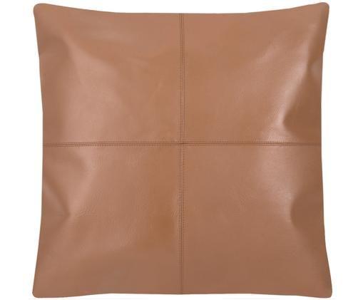 Funda de cojín de cuero Elegance, Coñac, An 45 x L 45 cm