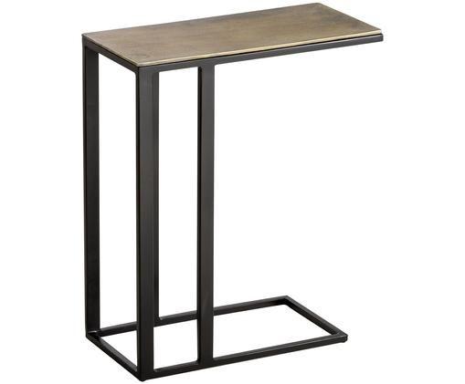 Bijzettafel Edge, Tafelblad: gecoat aluminium, Frame: gelakt metaal, Messingkleurig met antieke afwerking, mat zwart, 43 x 51 cm