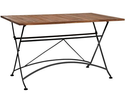 Table pliante avec plateau en bois Parklife, Noir, bois d'acacia