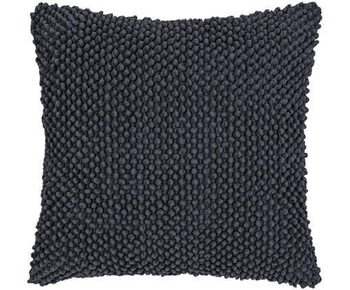 Poszewka na poduszkę Indi, Bawełna, Ciemnyszary, S 45 x D 45 cm