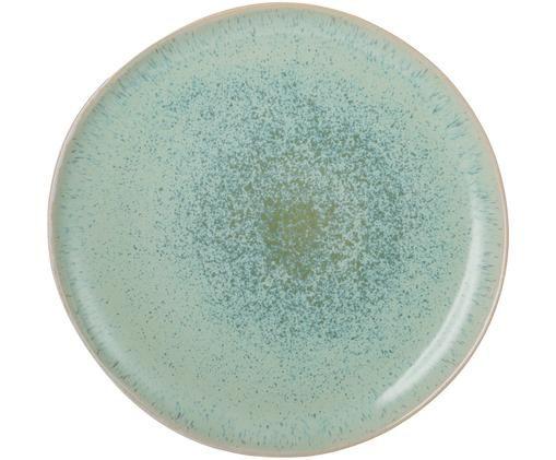 Assiette plate peinte à la main Areia, Menthe, blanc cassé, beige