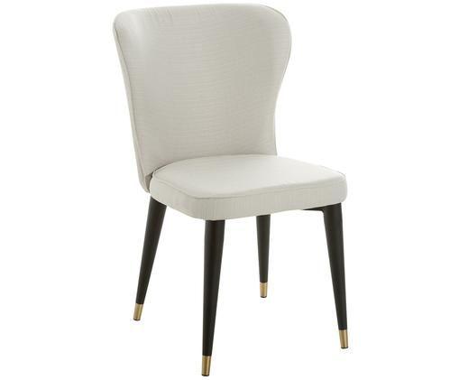 Gestoffeerde stoel Cleo, Crèmekleurig