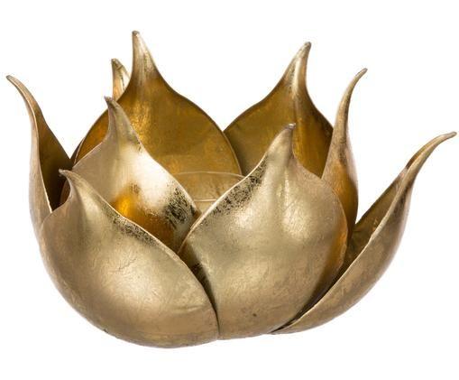 Portacandela Conla, Metallo rivestito, Dorato, lucido, Ø 20 x Alt. 11 cm