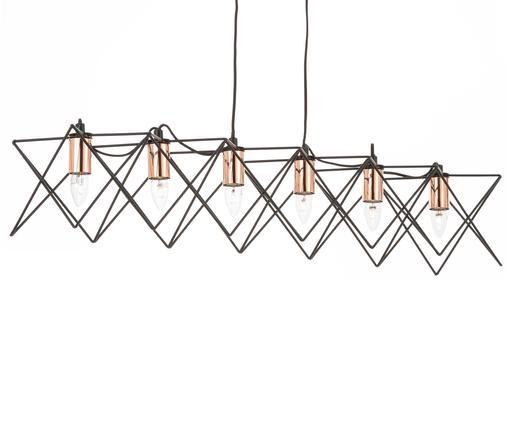 Lampada a sospensione industriale Frame, Nero, rame, Larg. 108 x Alt. 11 cm