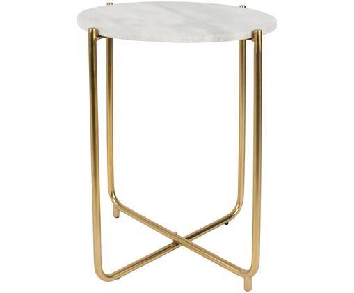 Tavolino in marmo rotondo Timpa, Piano d'appoggio: bianco, marmorizzato Gambe: ottone
