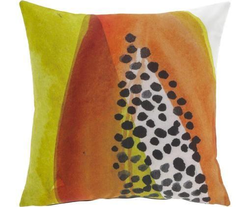 Federa con stampa colorata ad acquerello Dikeledi, Cotone, Multicolore, Larg. 45 x Lung. 45 cm