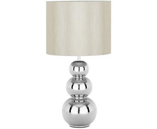 Tischleuchte Regina, Lampenschirm: Textil, Lampenfuß: Keramik, Taupe, Chrom, Ø 25 x H 49 cm